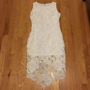 Shein white lace high low dress